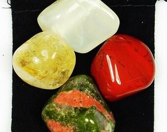 SPIRITUAL REBIRTH Tumbled Crystal Healing Set - 4 Gemstones w/Description Pouch - Citrine, Jasper, Moonstone, & Unakite