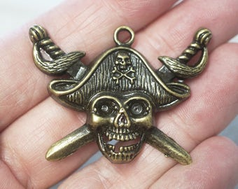 2 Metal Antique Bronze Pirate Skull Charms/Pendants -44mm