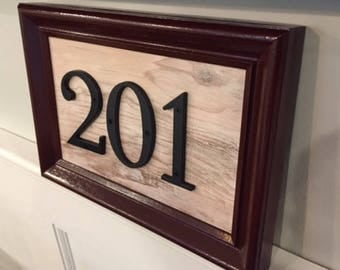 Burgundy Address Plaque Wooden-3 Numbers