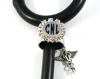 Stethoscope ID tag ring-cuff, bling, rhinestone setting Monogram initials, Stethoscope ID ring, charm, nurse,  medical, Vet, tech,EMS,