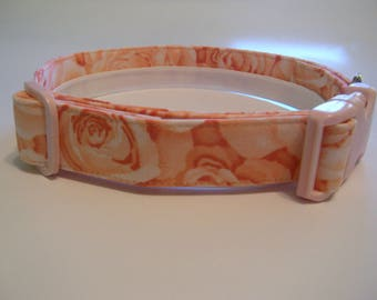 Handmade Cotton Dog Collar - Pink Roses
