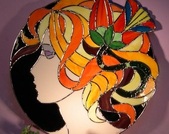 Stained Glass Girl with Flower in Hair (769)