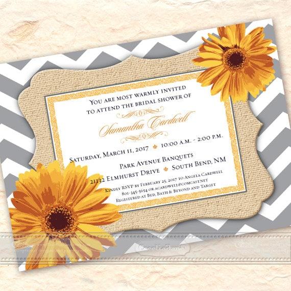 wedding invitation, yellow wedding invitation, bridal shower invitation, gold daisy chevron wedding invitation, gray and yellow shower IN542