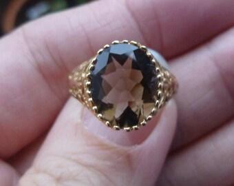 HUGE   5 CT Smokey Quartz  set in yellow gold  Victorian  Filigree Ring