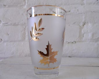 Vintage Frosted Glasses With Gold Leaf Libbey