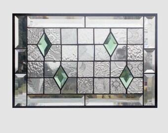 Beveled stained glass panel window geometric clear quilt sampler stained glass window panel window hanging suncatcher 17 3/8 x 11 3/8 0192