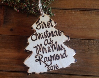 Newlywed Holiday ornament First Christmas as Mr. & Mrs. CUSTOM Gift for Newlyweds Rustic Wood Tree Ornament  Vintage Wedding Woodland Just M