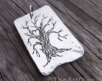 Heart in a tree pendant necklace, sterling silver, tree of life pendant, hand stamped, unique, love, tree, tree of life