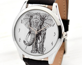 Elephant Watch | Tribal Jewelry | Men's Watch | Women Watches | Gift for Men | Anniversary Gifts for Girlfriend | Men's Gift | Free Shipping