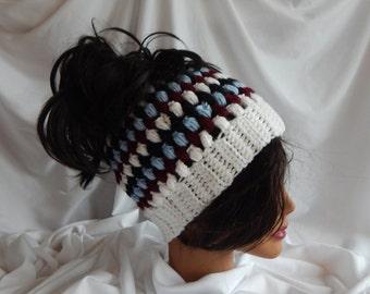Messy Bun Hat Pony Tail Hat - Crochet Woman's Fashion Hat - White, Wine, Blue, Black