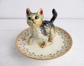 Vintage Tabby Cat Ring Dish, Figurine & Royal Worcester Saucer Trinket Holder, Kitschy Jewelry Display