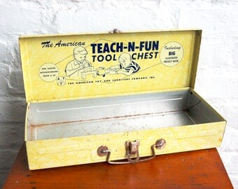 Metal Tool Chest Vintage Childs Teach n Fun Yellow Hinged Tin Box Mid Century Graphics Gift for Him