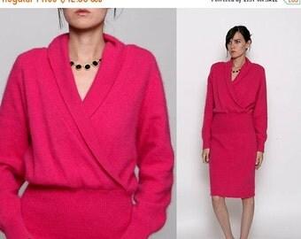 HUGE SALE Vintage 80s Hot Pink Fuzzy Sweater Dress