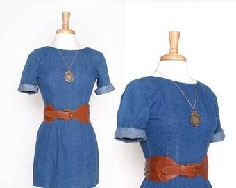 ON SALE Vintage 80s 90s Denim Fitted Mini Dress / jean dress / Small