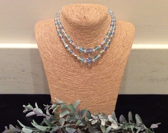 Vintage Blue AB and Clear Crystal Bead Necklace, Vintage Crystals, Vintage Beads, Vintage Jewelry