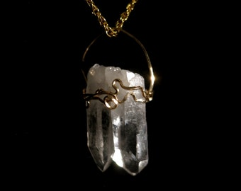 TWIN Crystal 14k gold fill SOULMATE Necklace ELESTIAL Arkansas  Metaphysical  Mineral Jewelry Ooak