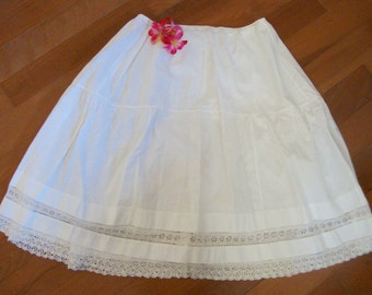 Antique Petticoat Victorian White Slip Lace Trim
