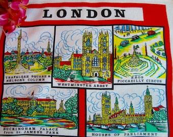 London Kitchen Towel Waffle Weave Towel Vintage Keepsake Collectible England
