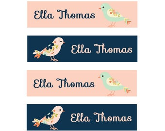 FAST SHIPPING! Clothing Name Labels, Clothing Name Tags, Fabric Name Labels, Iron-On, Iron On School Labels, Daycare, Camp, Girl, Birds