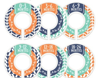Closet Dividers, Assembled, Baby Closet Dividers, Closet Organizer, Baby Boy, Orange, Navy, Mint, Tribal, Arrows, Woodland, Nursery Decor