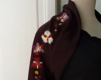 Timeless short red and black stole- jacket with hand embroidery