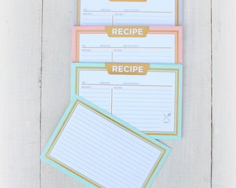 4x6 Recipe Cards GOLD MINT BLUSH Pink Rustic Set of 24 Cards