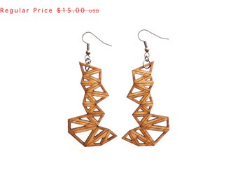 SALE wood jewelry - Bamboo Triangle Cluster Earrings - Large, 1 Ply.  modern geometric. eco friendly lightweight