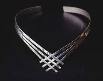 Sterling Silver Collar Necklace -Chevron Collar Choker Necklace-Edgy Chic Collar Necklaces-Ancient Greek Inspired Jewellery