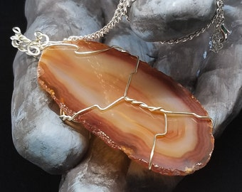 OOAK Orange Sunset Agate Gemstone Slice Pendant - Silver Wire Wrapped on Silver Chain Necklace