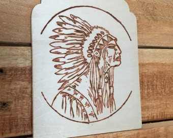 Little wood burn carving of american 1970's