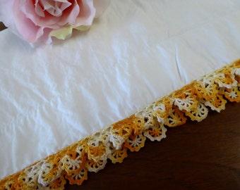 Vintage Single Pillowcase White with Yellow Crochet Trim