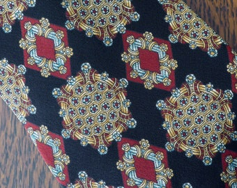 Vintage Silk Tie Metropolitan Museum of Art, Elegant Jewel Tone Silk Necktie Metropolitan Museum of Art