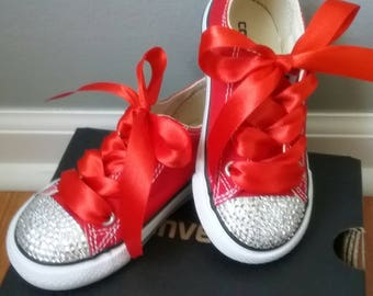 Crystal Converse, Red Converse, Infant Toddler, Baby Shoes, Sizes 2-10, Red Satin Laces