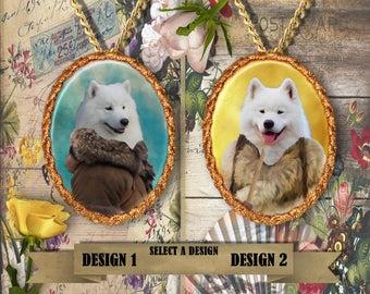 Samoyed Jewelry. Samoyed Pendant or Brooch. Samoyed Necklace. Samoyed Portrait. Custom Dog Jewelry by Nobility Dogs. Dog Handmade Jewelry