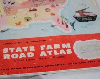 Vintage US Road Atlas Rand McNally State Farm c. 1972 Incl Canada Mexico Puerto Rico , Vintage 70's Road Map