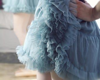TUTU tulle dusky BLUE petticoat underskirt frilly ballerina ROMANTIC wedding Bridesmaid Flowergirl Steampunk Rocknrollbride Fairy Retro
