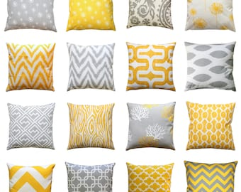 CLEARANCE Throw Pillow Cover, Yellow and Grey Pillows, Mix & Match, 14x14 Yellow Pillow Case, Zippered Pillow, Decorative Couch Pillows