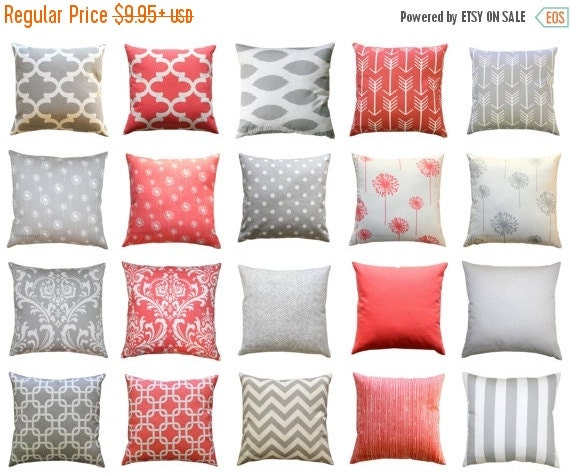 SALE Throw Pillows, Storm Grey or Coral Pillow Cover, Zippered Pillow, Gray Pillow Case, Coral Cushion Cover, Accent Pillow, Decorative Pill