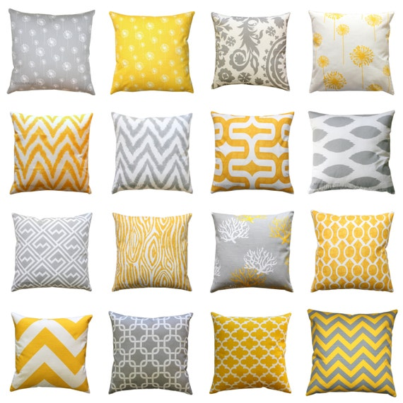 Gray Couch Pillows: CLEARANCE Throw Pillow Cover Yellow And Grey Pillows Mix