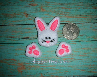Mini Bunny Head with paws Feltie - Small white felt - Great for Hair Bows, Reels, Clips and Crafts - Easter Ears and feet