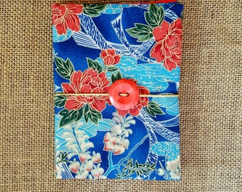 Handmade journal, fabric journal, Asian journal, Asian fabric journal, Japanese fabric covered journal, Asian design,  4.5 in by 6.5 in.