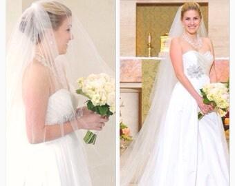 Wedding Veil with blusher Cathedral  length  veil Cut edge 2 tier  Wedding veil long veil