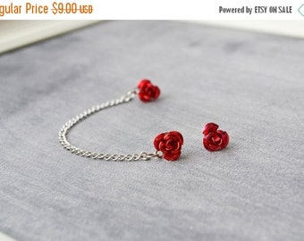 SALE Red Rose Single Silver Chain Double Pierce Cartilage Earring (Pair)