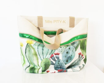 """Tote bag with glitter and cactus made in cotton """"Santa Fe""""// Gift for her// summer bag // Big Bag"""