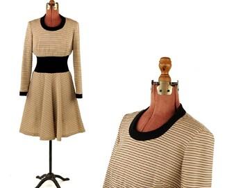 Vintage 1960's Lampl Tan + Cream Pin Stripe Mod Gathered Waist Preppy A-line Flair Mod Skirt Dress M