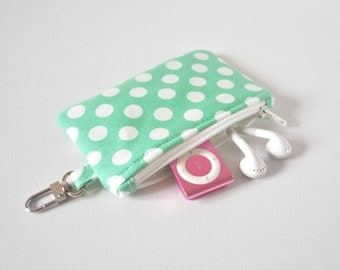 Woman's dotty key chain coin pouch padded gadget change purse in mint green and white polka dot spot print.