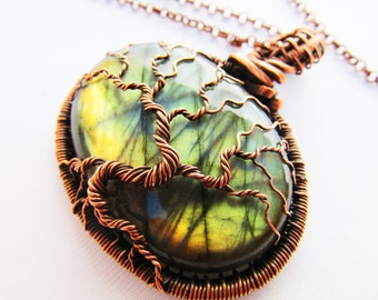 "Tree of Life Pendant - Labradorite & Hand Woven Oxidized Copper Wire - 2.25"" x 2.25"" (60mm x 60mm)"