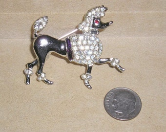 Vintage Rhodium Plated Prancing Poodle Dog Pin With Clear Rhinestone Purple Baguettes 1950's Brooch Jewelry 2195