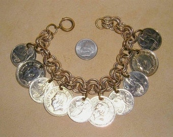 Vintage Coin Bracelet 1950's With Elephant Heads Foreign Coins Jewelry B10