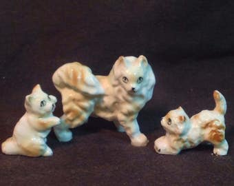 Miniature Cat Family Mother and 2 Kittens Porcelain Vintage 1950-60's
